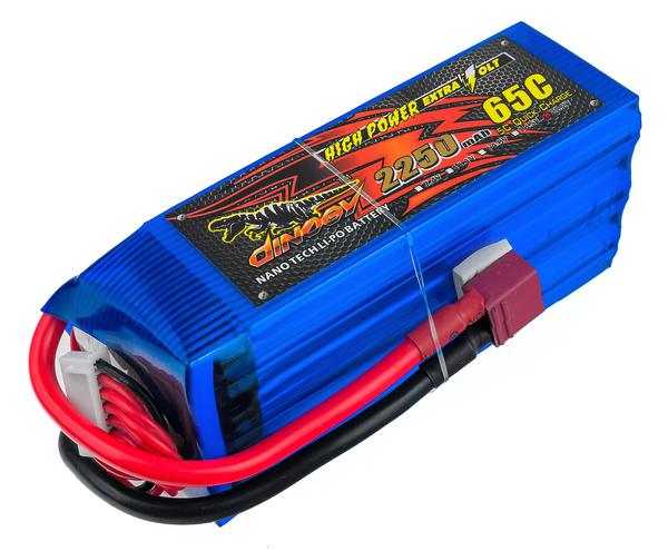 dinogy Dinogy Аккумулятор Li-Pol 2250mAh 22.2V 6S 65C 47x35x106мм T-Plug (DLC-6S2200H-T)